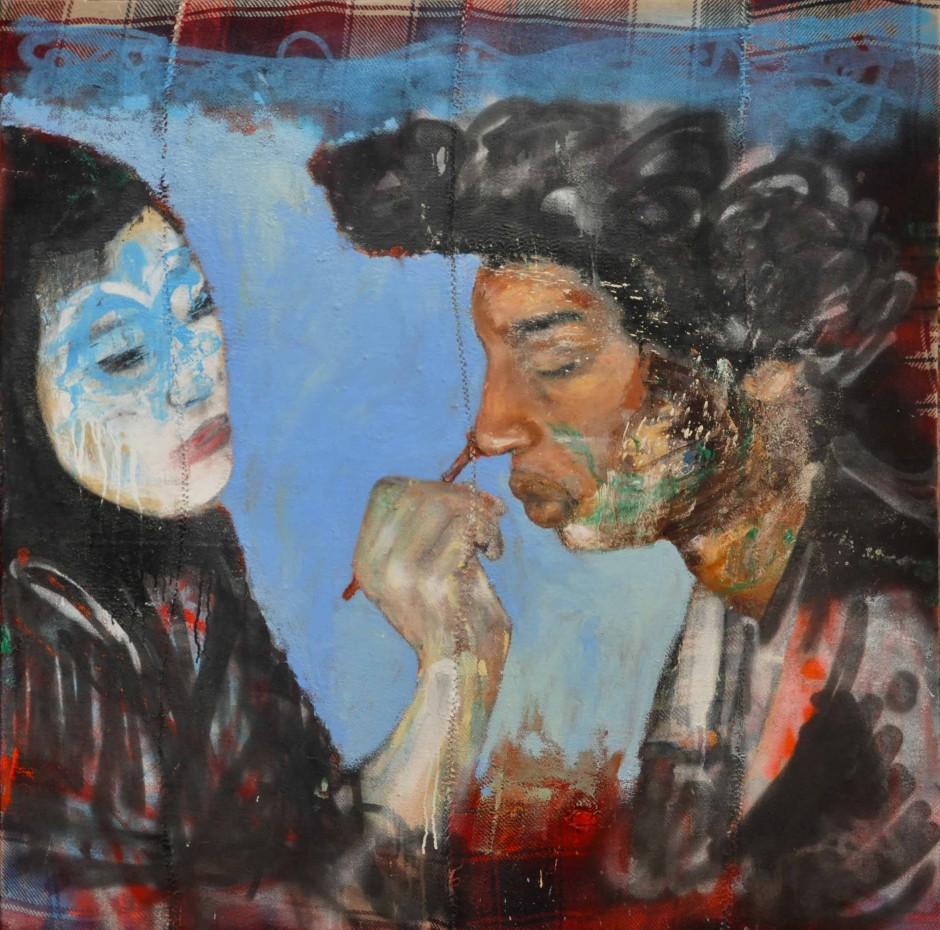 Activate Matrjoshka   Oil and spray paint on djadjim/kilim   140 x 140 cm   2015
