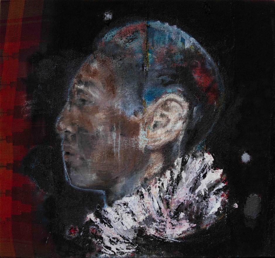 Dancing Geometrics   Oil and spray paint on kilim   140 x 140 cm   2016