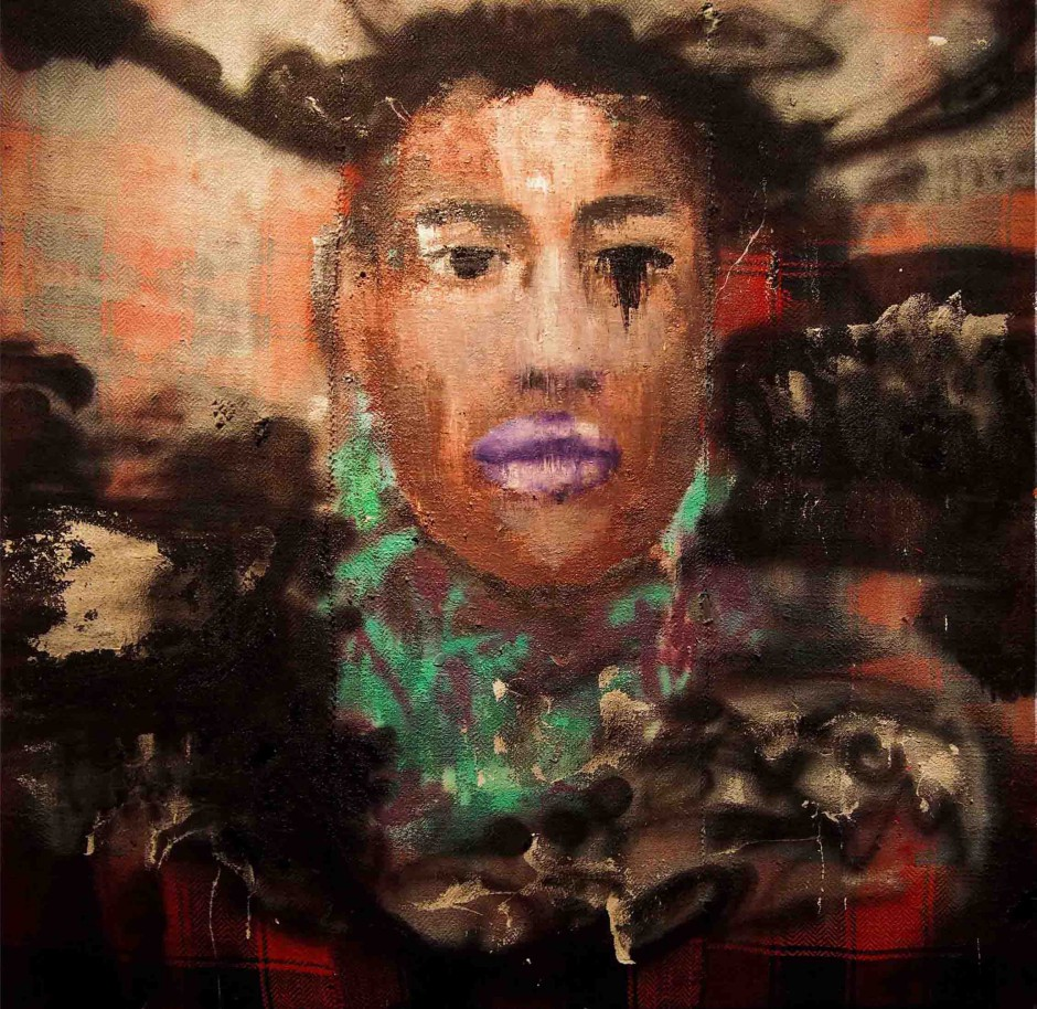 Miguel | Oil and spray paint on djadjim/kilim | 140 x 140 cm | 2015