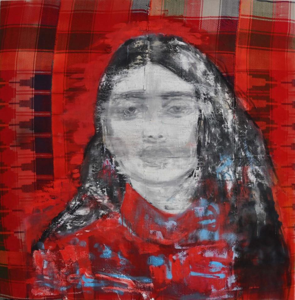 Marmelade   Oil and spray paint on djadjim/kilim   140 x 140 cm   2015
