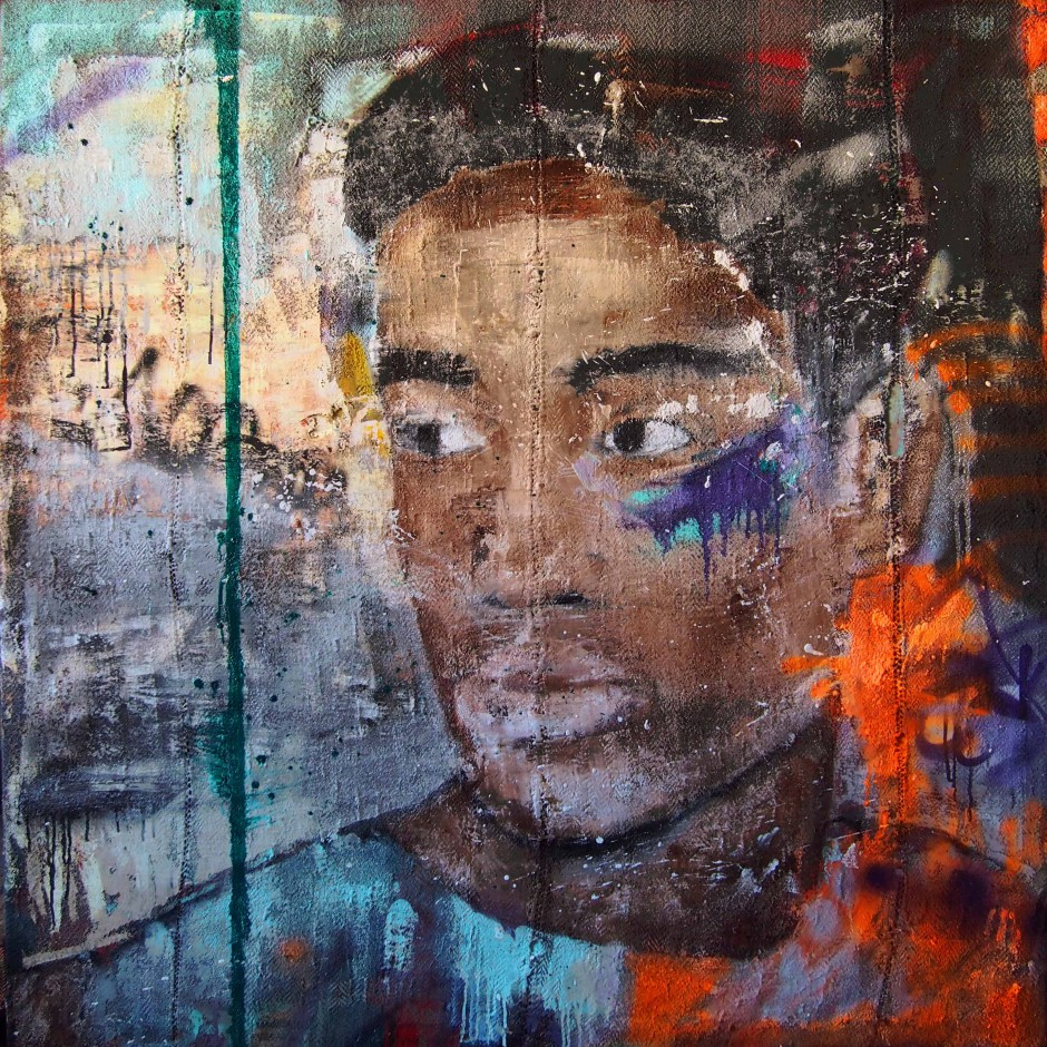 Sebastiano | Oil and spray paint on djadjim/kilim | 140 x 140 cm | 2015